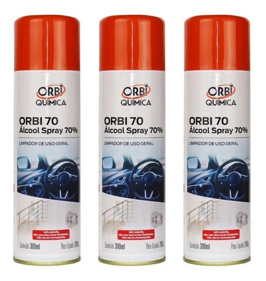 Kit Com 3 Álcool Em Spray Orbi Quimica 65 Inpm/70 Gl 300ml