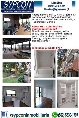 Apartamento Zona 10 Jardin, Nivel 1