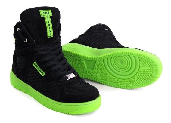 Tenis Cano Alto Academia Top Fitness Botinha Sneakers Couro