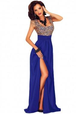 0982afdc0 Vestido Fiesta Largo Azul Rey Dorado Envío Gratis -   749.00 en Mercado  Libre