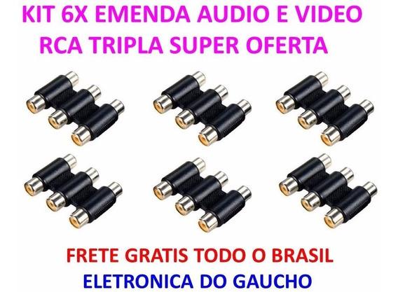 Kit 6x Emenda Tripla Rca Cabo De Áudio E Vídeo Fêmea X Fêmea