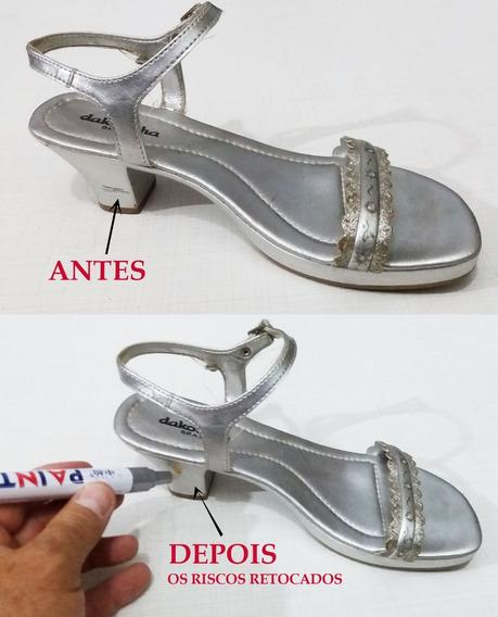 Caneta Prata Para Retoque Em Riscos De Sapatos-tenis-botas