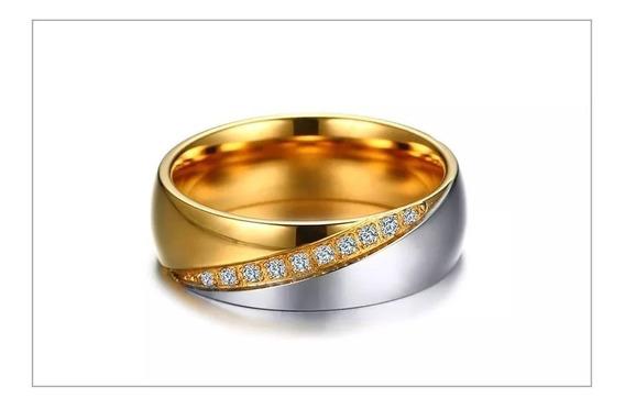 Aliança 1 Peça Com Pedras Banhado A Ouro E Prata