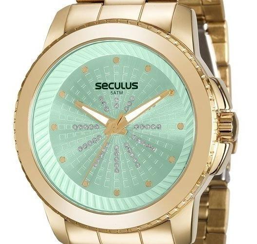 Relógio Seculus Feminino Dourado 20563lpsvds2 Original