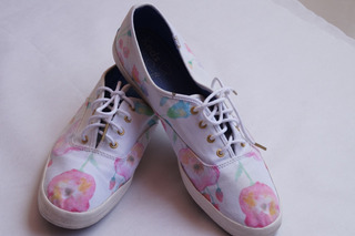 Tenis Keds Dots Blanco Con Flores De Colores Talla 27