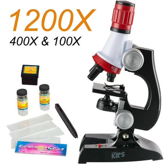 Kit Laboratório Ciências Microscópio Até 1200x Educacional