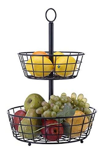 Cesta De Metal Para Frutas Color Negro Marca Pyle