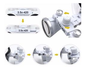 Lupa Fotoforo Oculos Cirurgico Dentista 3.5x420mm Silver