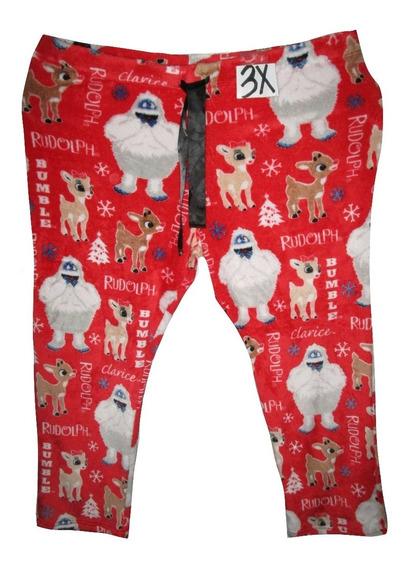 Pantalon Pijama Roja Estampada Navidad Talla 3x 42/44 Rudo