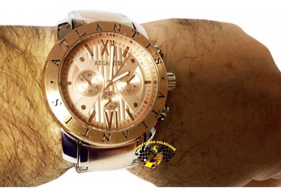 Relógio Masculino Atlantis Fundo Bronze A3310 Grande
