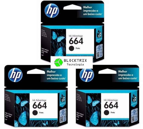 Kit 3 Cartuchos Hp 664 Preto Original F6v29ab 2ml
