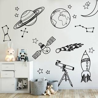 Increíble Vinilo Decorativo Infantil Espacio Planetas