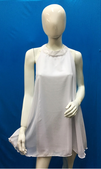 Talle Especial Vestido Medio Cuello Mao Liso