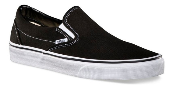 Zapatillas Panchas Vans Modelo Slipon Clasica Lona Lisa Negra Con Blanco