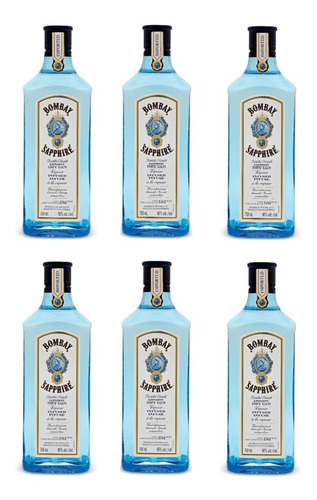 Pack 6 Unidades Gin Bombay Sapphire 750ml /original Sellado