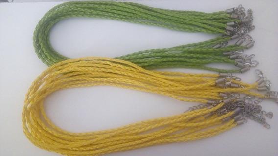 20 Cordões Verde Amarelo Couro Sintético 3 Mm 43 A 45 Cm