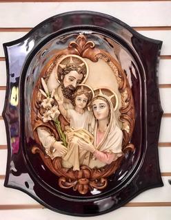 Cuadro En Bulto De La Sagrada Familia Fino De Alabastro.