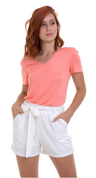 Shorts Malha Canelada Com Faixa Branco Kinara