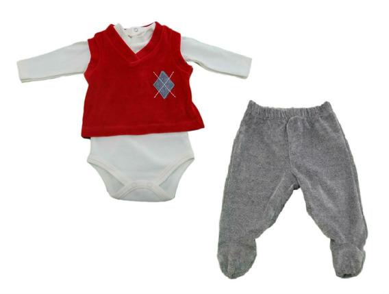 Conjunto Body, Colete E Calça - Vermelho- Baby Fashion