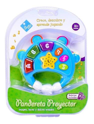 Imagen 1 de 6 de Proyector Pandereta Con Luz Y Melodias Bebe El Duende Azul