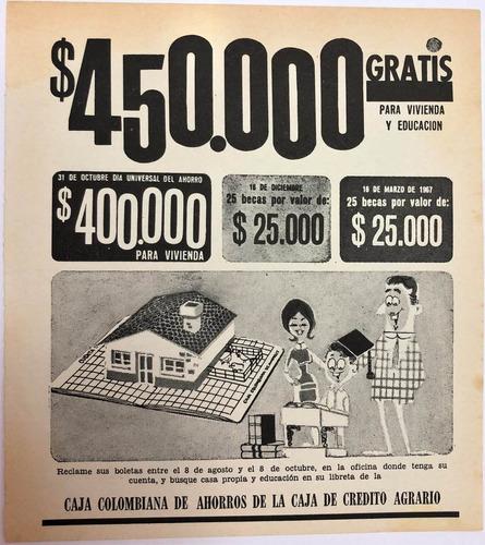 Imagen 1 de 1 de Caja Colombiana De Ahorros Antiguo Aviso Publicitario 1966