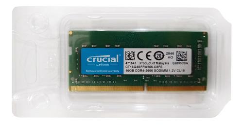 Imagem 1 de 2 de Memória Ram 16gb 1x16gb Crucial Ct16g4sfd8266 M16