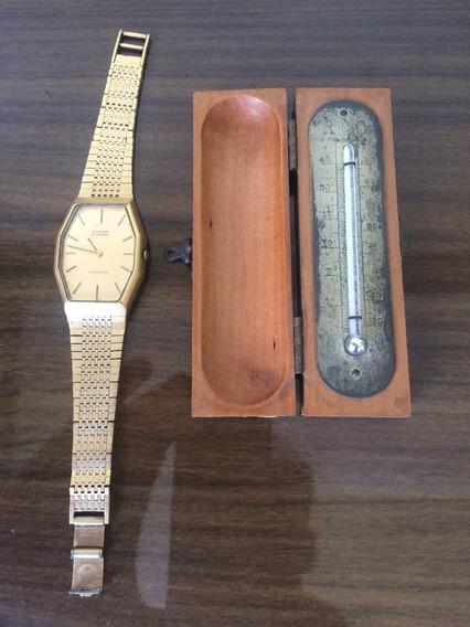 Relógio De Pulso E Termometro Antigo