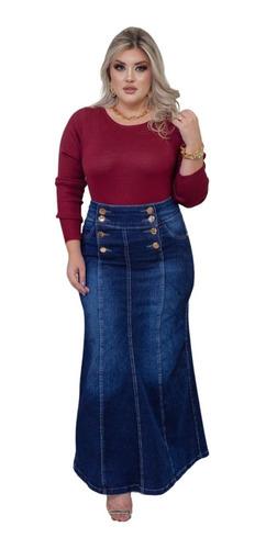 Imagem 1 de 4 de Saia Jeans Longa Justa Elastano Moda Evangélica Feminina