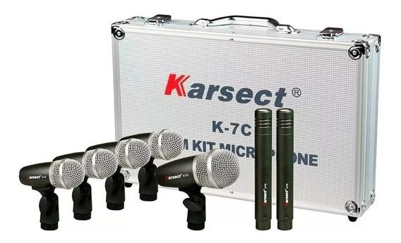 Microfones Bateria Jogo Da Karsect K7c 7 Peças Profissional