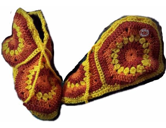 Pantuflas De Lana Crochet Suela. Talles Especiales.40/45