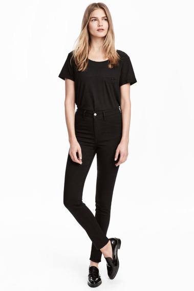 Pantalón De Jean Elastizado Mujer H&m Chupin Negro Tiro Alto