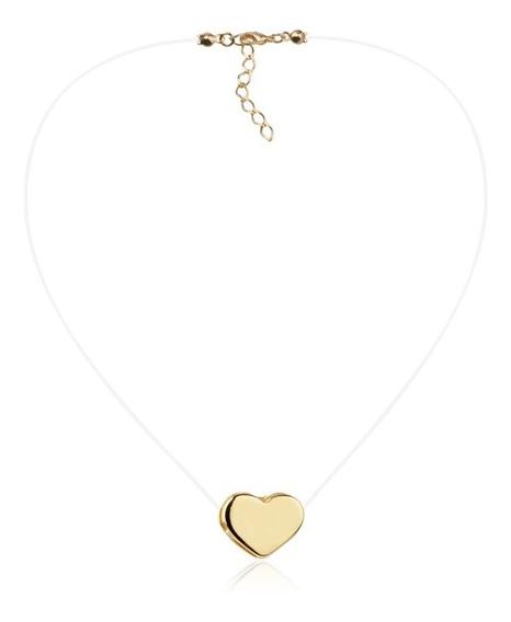 Colar Nylon Com Pingente De Coração Folheado Ouro 18k