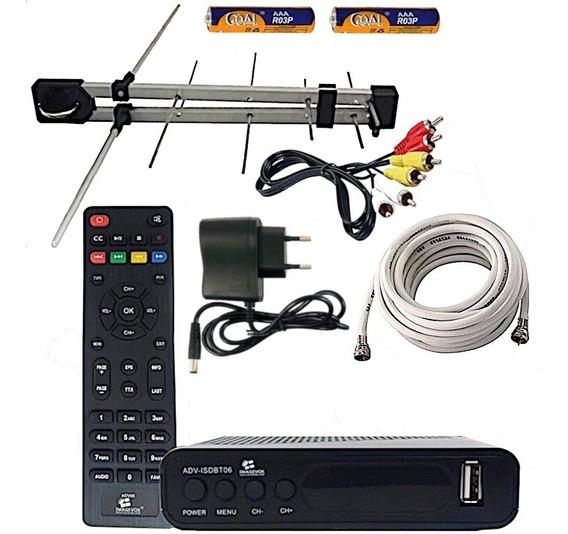 Kit Conversor Digital + Antena Externa Uhf + 10 Metros Cabo