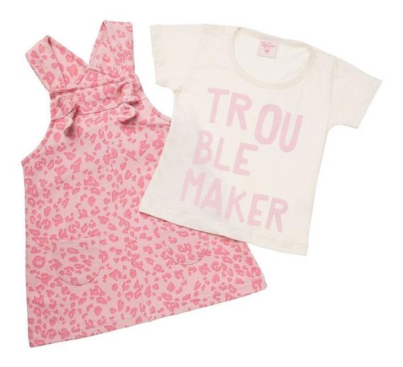 Roupas De Menina Infantil Jardineira+blusa Super Linda
