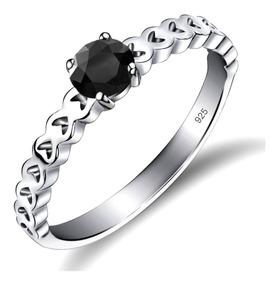Anel Luxo Pura Prata 925 Corações Black Onix- Exclusivo