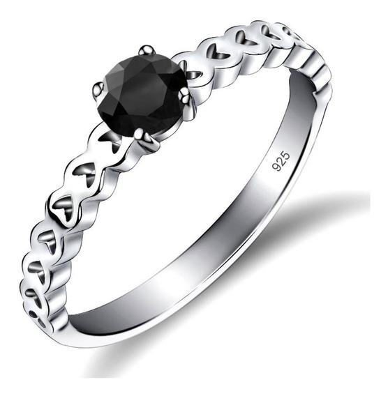 Anel Luxo Pura Prata 925 Corações Black Onix- Exclusivo - Compre Joias Direto Da Fábrica E Economize Dinheiro