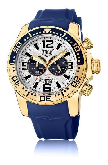 Relógio Pulso Everlast Masculino Cronografo Azul E649