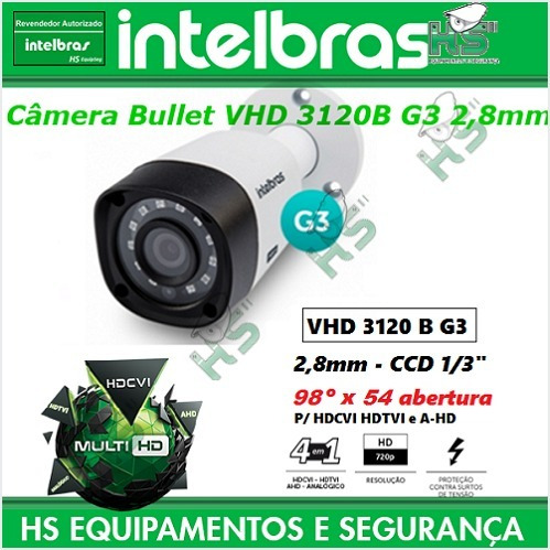 Câmera Intelbras Multi Hd Vhd 3120b G3 2,8mm Ccd 1/3 98ºx54