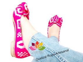 Zapato Dama Balerinas Flats Rebozo Mexicano Artesanal
