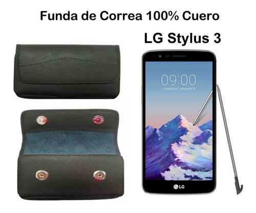 LG Stylus 3 Funda 100% Cuero Correa Estuche Case Cover Flip