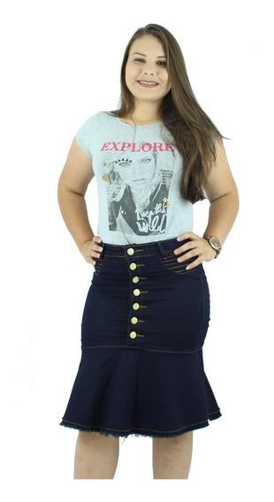 Saia Jeans Moda Evangélica Babado Com Botões Anagrom Ref.055