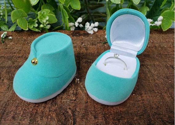 Caixinha De Veludo, Sapatinho De Bebe, Azul (anel)