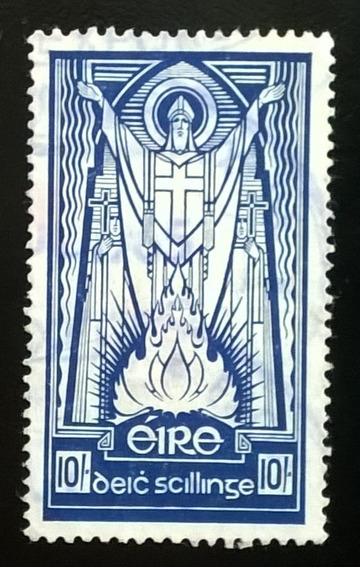 Irlanda Arte, Sello Sc 123 St Patrick 10sh 1945 Usado L11991
