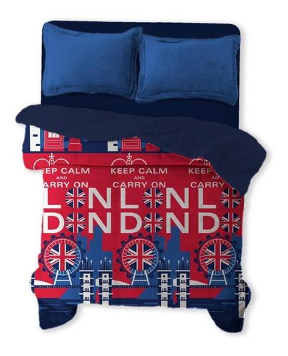 Imagen 1 de 3 de Cobertor Melocotton Flannel estampado Matrimonial Londres