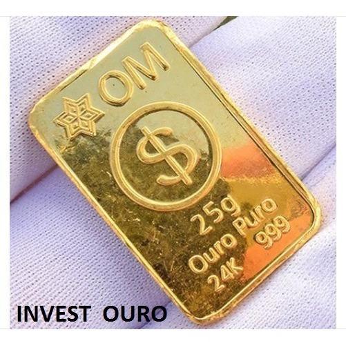 Barra De Ouro 25 Gramas 24k Ouro Minas Frete Grátis