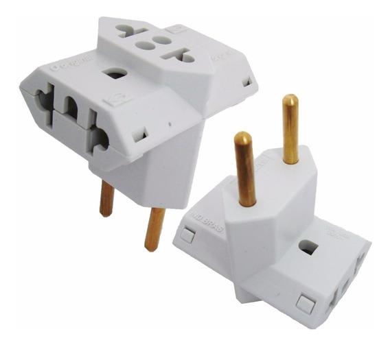 5 Adaptador Tomada Padrão Novo Plug Benjamin T 3 Pinos