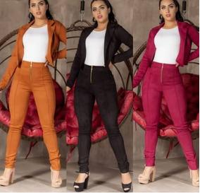 Calça Feminina Em Suede Com Zíper Nova Coleção