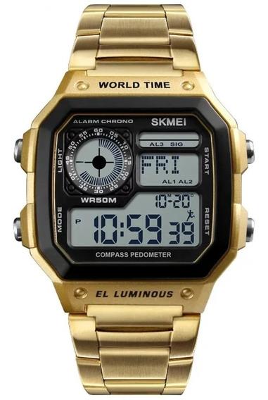 Relógio Skmei Masculin Digital Retrô Pulseira Aço Inoxidável