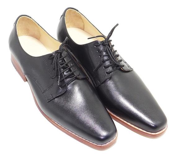 Zapato De Cuero Negro Suela Con Vira Cocida - Calzados Union