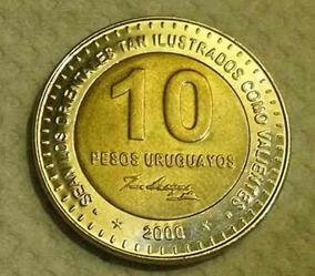 Moedas 10 Pesos Uruguaio *2000* José Artigas, Duas Moedas